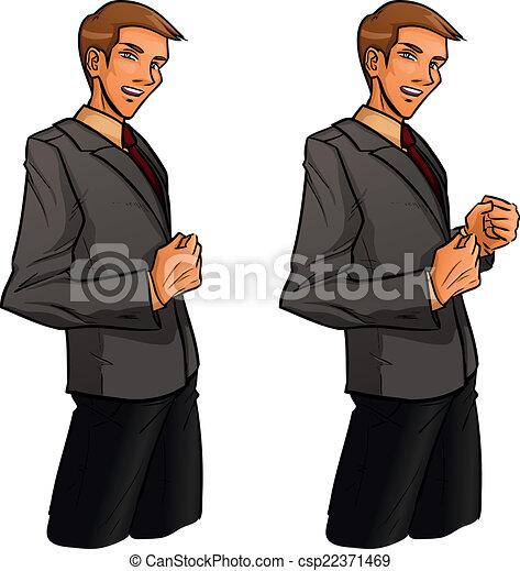 standing, clenches, uomo, pugno, proprio - csp22371469