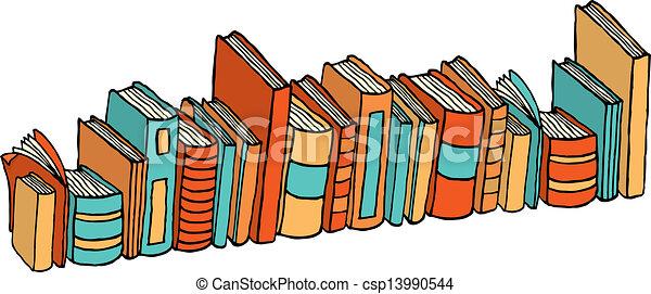 standing, differente, /, libri, biblioteca, pila - csp13990544