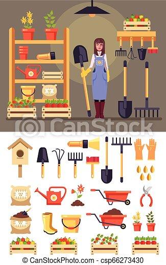 standing, donna felice, set, giardinaggio, icona, appartamento, concept., grafico, carattere, isolato, illustrazione, vettore, tools., disegno, sorridente, agricoltura, agricoltura, cartone animato, giardiniere, granaio - csp66273430