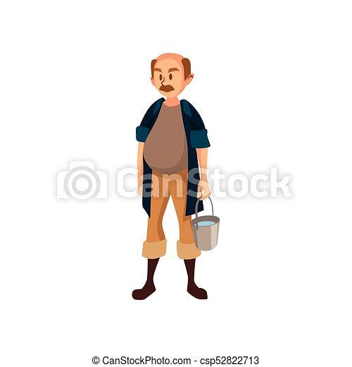 standing, lavoro, illustrazione, vettore, secchio, maturo, contadino, maschio, cartone animato, giardiniere - csp52822713