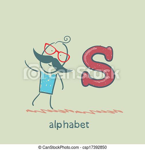standing, lettera alfabeto, uomo - csp17392850