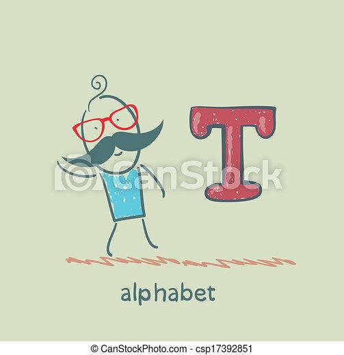 standing, lettera alfabeto, uomo - csp17392851