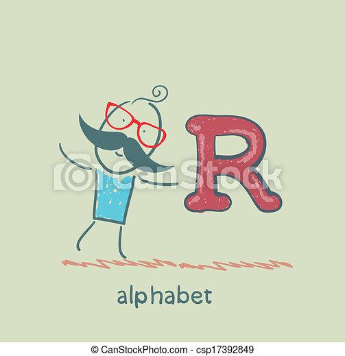 standing, lettera alfabeto, uomo - csp17392849