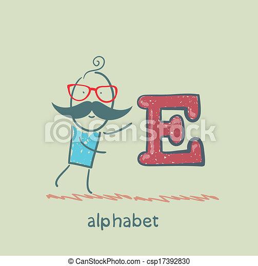 standing, lettera alfabeto, uomo - csp17392830