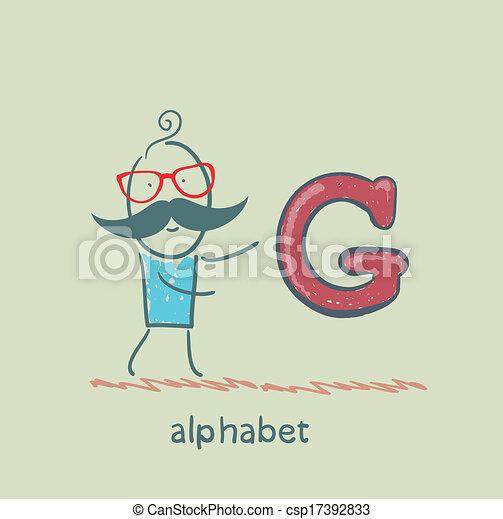 standing, lettera alfabeto, uomo - csp17392833