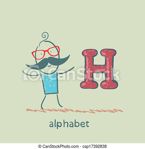 standing, lettera alfabeto, uomo - csp17392838