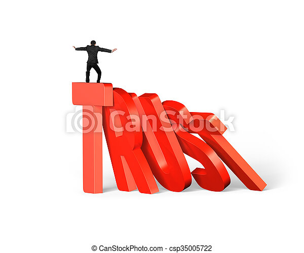Standing man balancing on trust word dominoes falling - csp35005722