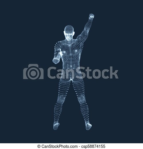 Standing Man. Human with arm up. Silhouette for sport championship. The victory celebration. 3D Model of Man. Vector Illustration. - csp58874155