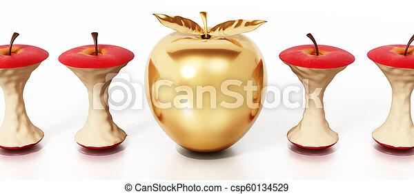 standing, mela dorata, illustrazione, mangiato, fuori, cores., 3d - csp60134529