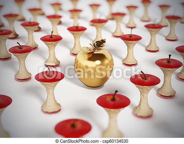 standing, mela dorata, illustrazione, mangiato, fuori, cores., 3d - csp60134530