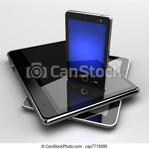 standing, mobile, ardendo, telefono, blocchi, digitale - csp7715095