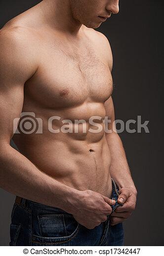 standing, nudo, adattare, sopra, jeans, su, scuro, unbuttoning, fondo, undressing., chiudere, sexy, torso, uomo - csp17342447