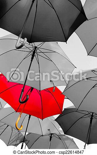 standing, ombrello, rosso, fuori - csp22614847