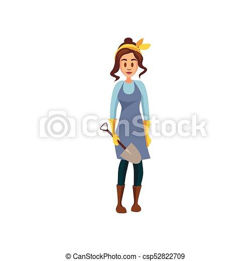 standing, pala, lavoro, giovane, illustrazione, vettore, femmina, contadino, cartone animato, giardiniere - csp52822709