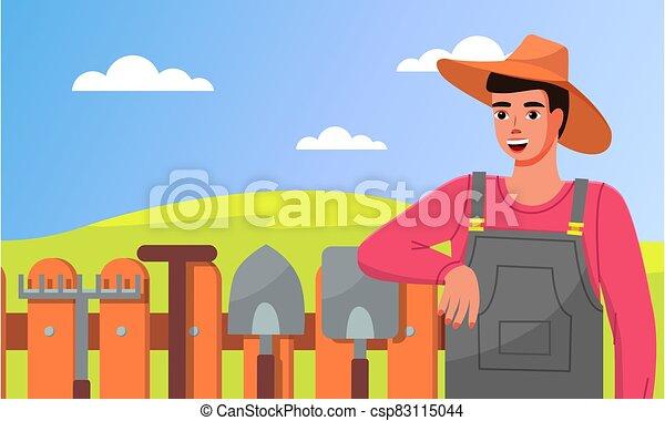 standing, recinto, pale, giardiniere, attrezzi, closeup, rastrelli, giardino, cappello, giovane, tools. - csp83115044