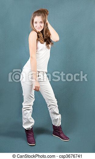 standing teen girl - csp3676741