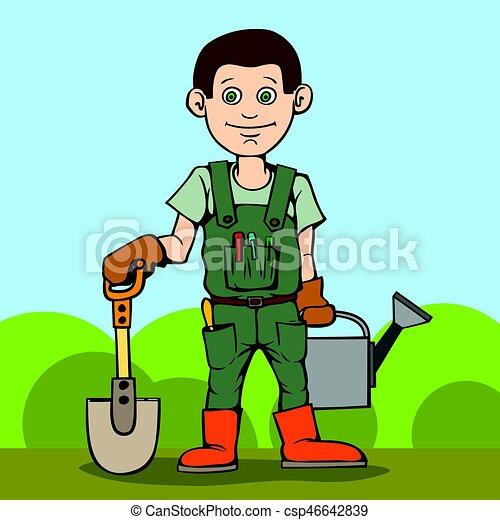 standing, tool., suo, giardino, can., irrigazione, pala, giardiniere, felice - csp46642839