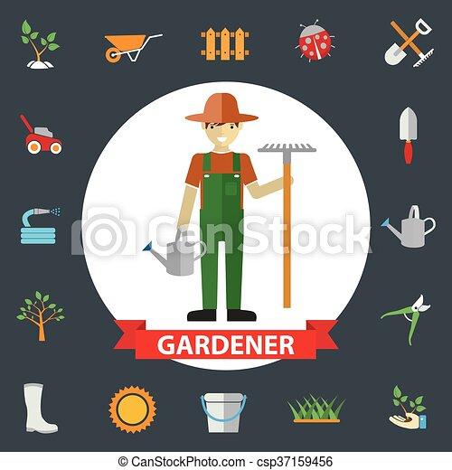 standing, tools., activities., giardino, icone, ambientale, set, giardinieri, giardinaggio, loro, uomo - csp37159456