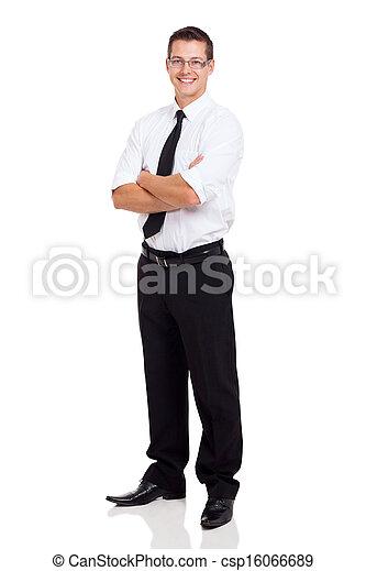 standing, uomo affari, attraversato, giovane, braccia - csp16066689