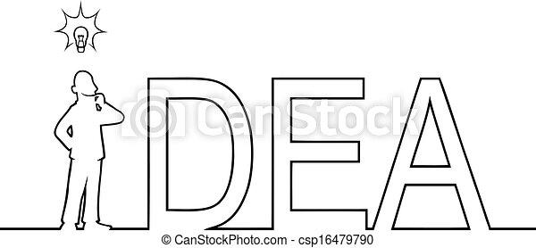 standing, uomo, parola, idea, esso - csp16479790