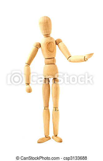 standing wooden dummy isolated - csp3133688