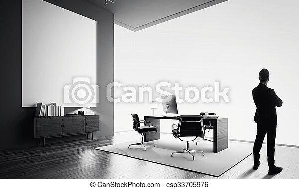 Stands bureau moderne une noir homme affaires blanc vide