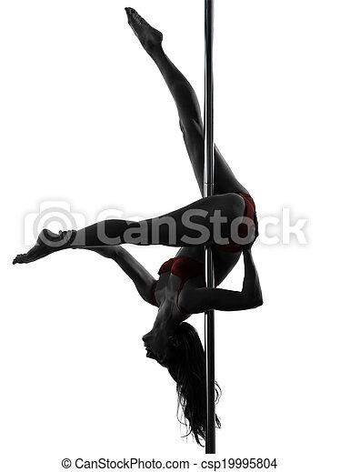 stange, tänzer, silhouette, frau - csp19995804