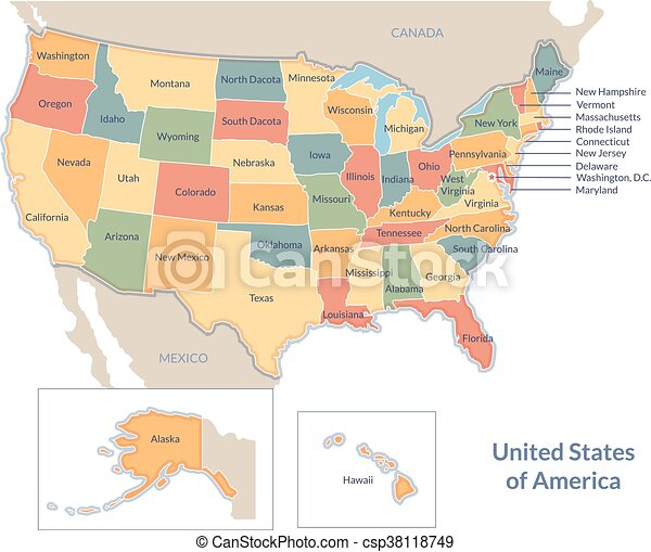 Stany Mapa Polityczny Usa Mapa Wszystko Usa Jasny States
