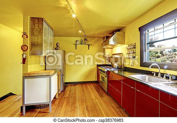 Stanza, cabinets., pareti gialle, interno, rosso, cucina. Stanza ...