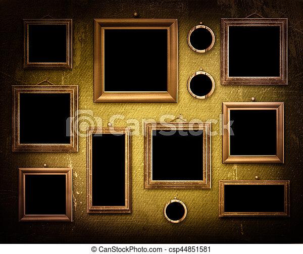 stanza, interno, legno, portato, vecchio, cornici, superficie, grunge, industriale - csp44851581