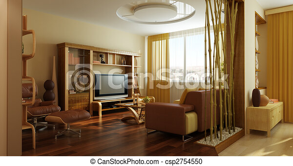 stanza, moderno, salotto, interpretazione, interno, 3d - csp2754550