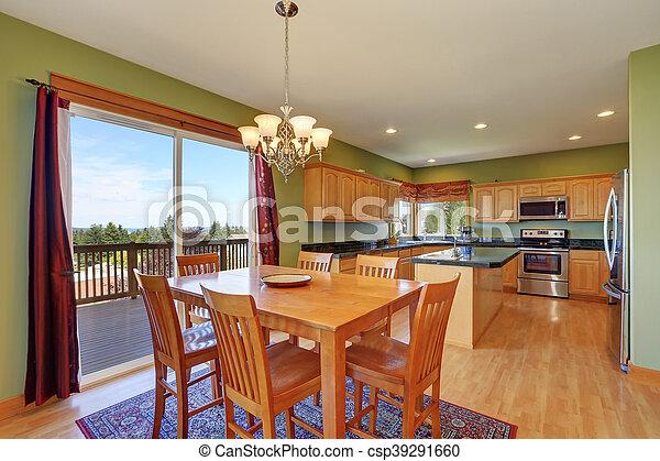 Stanza, pavimento, legno duro, cenando, pareti, cucina verde. Stanza ...
