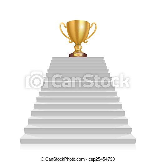stap, winnaar, kop - csp25454730