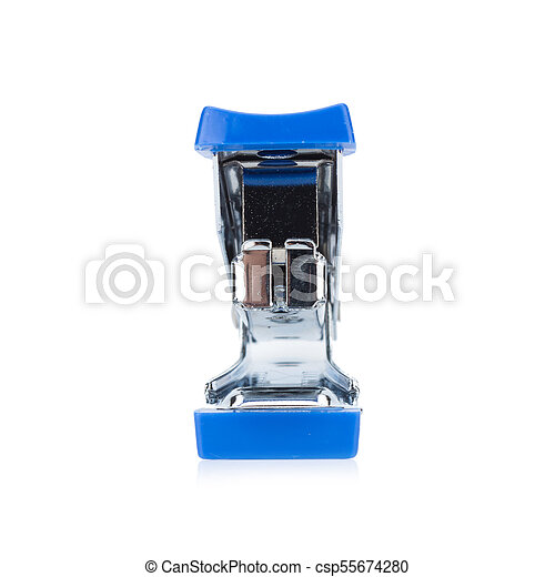 stapler steel color blue isolated on white background - csp55674280