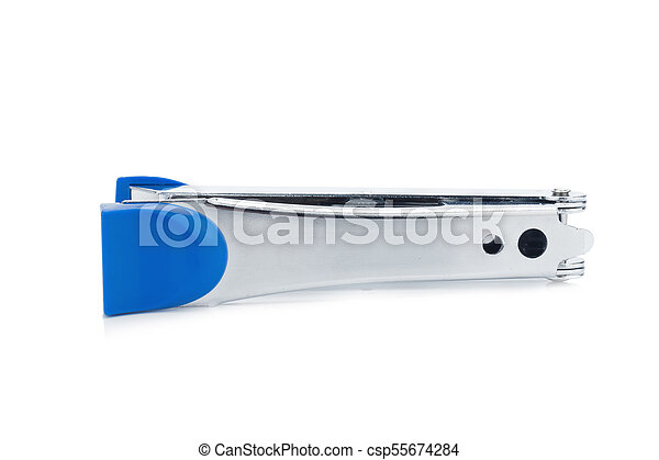 stapler steel color blue isolated on white background - csp55674284