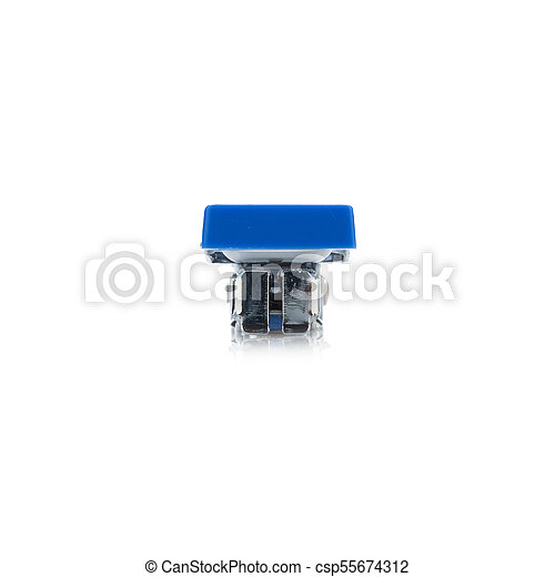 stapler steel color blue. protracted. isolated on white background - csp55674312