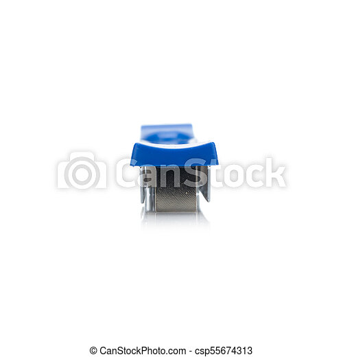 stapler steel color blue. protracted. isolated on white background - csp55674313