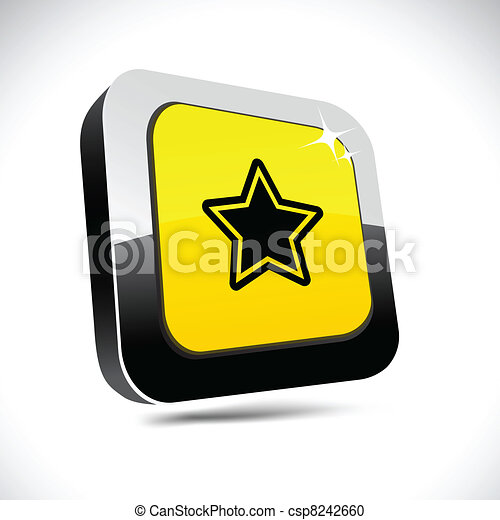 Star 3d square button. - csp8242660
