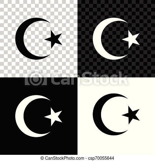 star and crescent symbol of islam icon isolated on black white and transparent background religion symbol vector https www canstockphoto com star and crescent symbol of islam icon 70055644 html