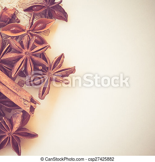 star anise on paper with filter effect retro vintage style - csp27425882