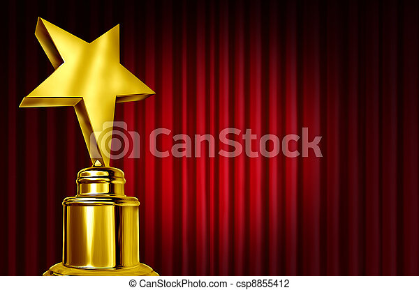 Star Award On Red Curtains - csp8855412