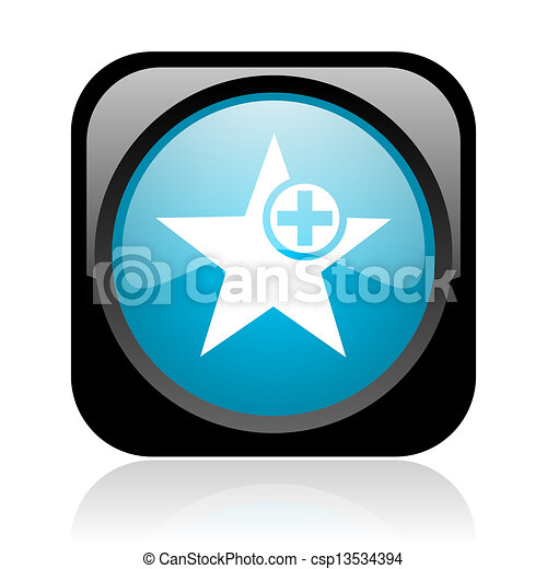 star black and blue square web glossy icon - csp13534394
