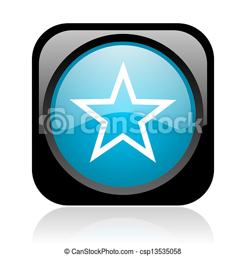 star black and blue square web glossy icon - csp13535058