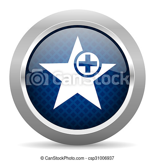 star blue circle glossy web icon on white background, round button for internet and mobile app - csp31006937