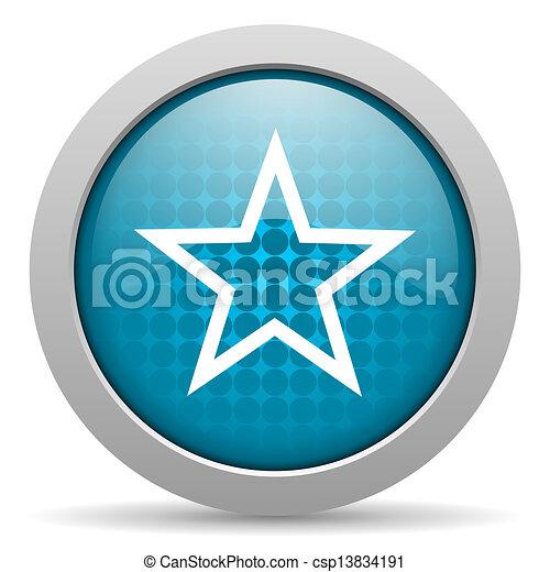 star blue circle web glossy icon - csp13834191
