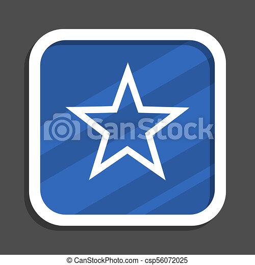 Star blue flat design square web icon - csp56072025