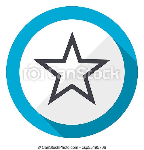Star blue flat design web icon - csp55495706