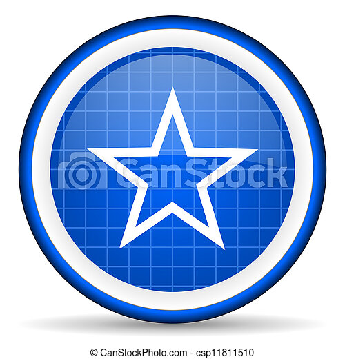 star blue glossy icon on white background - csp11811510