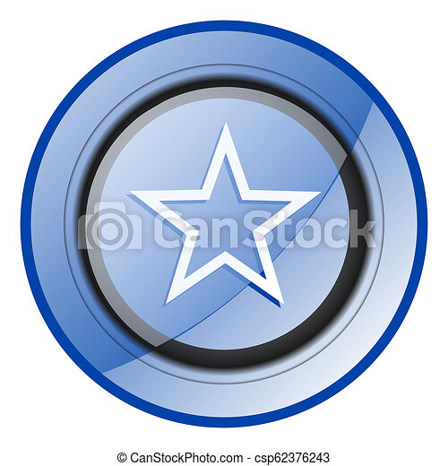 Star blue glossy web icon - csp62376243
