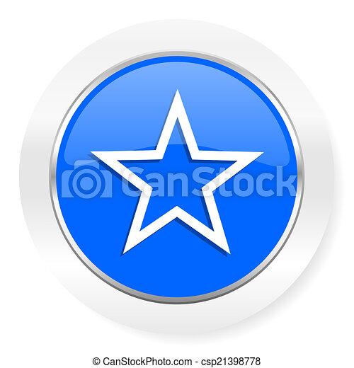 star blue glossy web icon - csp21398778
